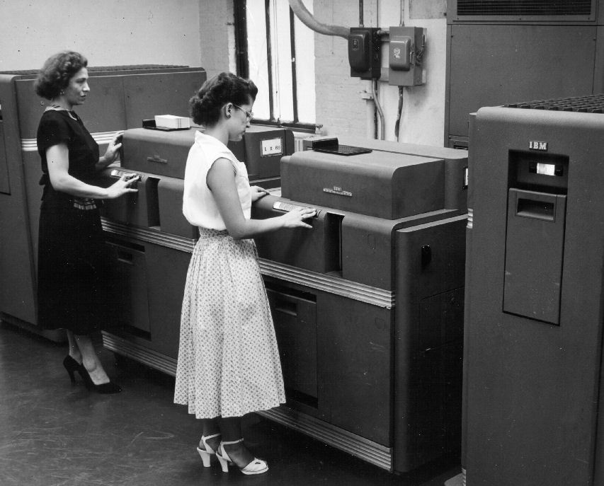 1950 Woman Standing At Old Computer Mainframe1 Minnesota